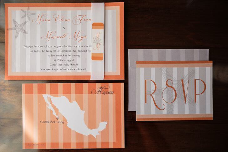 These invitations made it clear that Maria and Maxwell were having a destination wedding in Mexico. Pretty With Ink Invites created this cool invitation suite wrapped in satin ribbon.