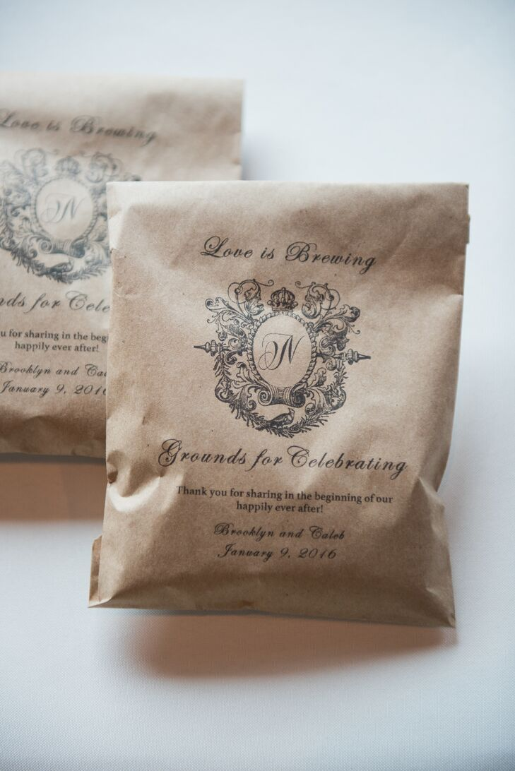 "In addition to featuring a full coffee bar of cappuccino, espresso, and lattes at the reception, the couple gave personalized bags of coffee to their guests. Each was printed with cute puns such as ""love is brewing"" and ""grounds to celebrate."""