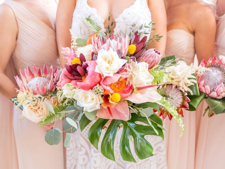 pink tropical bridal bouquet