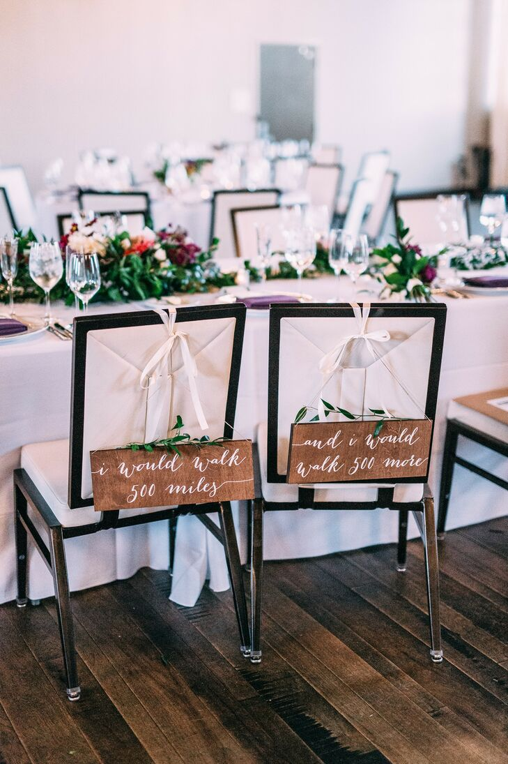 Rustic Wood Chair Signs at St. Louis Wedding Reception