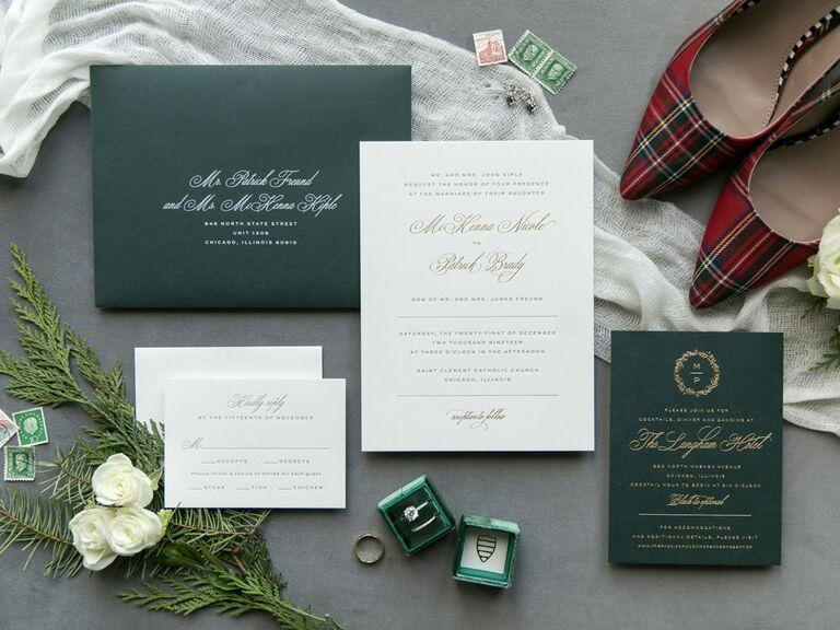 Holiday wedding invitation suite
