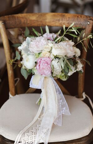 Blush and Ivory Peony Bouquet with Lace Ribbon