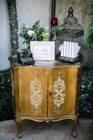 Card Table With Vintage Table, Birdcage and Typewriter