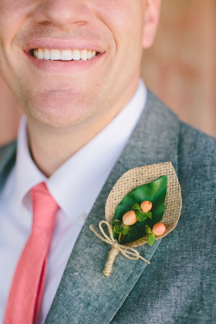 Burlap and Hypericum Berry Boutonniere