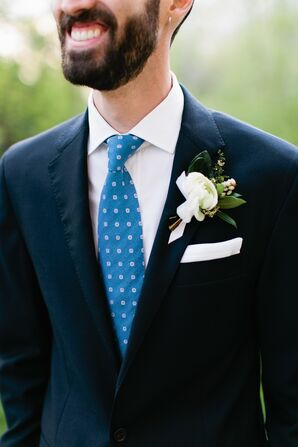Printed Blue Tie and White Pocket Square