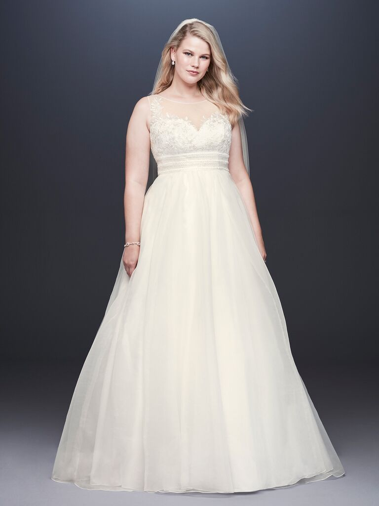 David's Bridal Spring 2019 lace embroidered wedding dress with a sheer illusion neckline