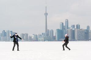 Wedding Day Snowball Fight