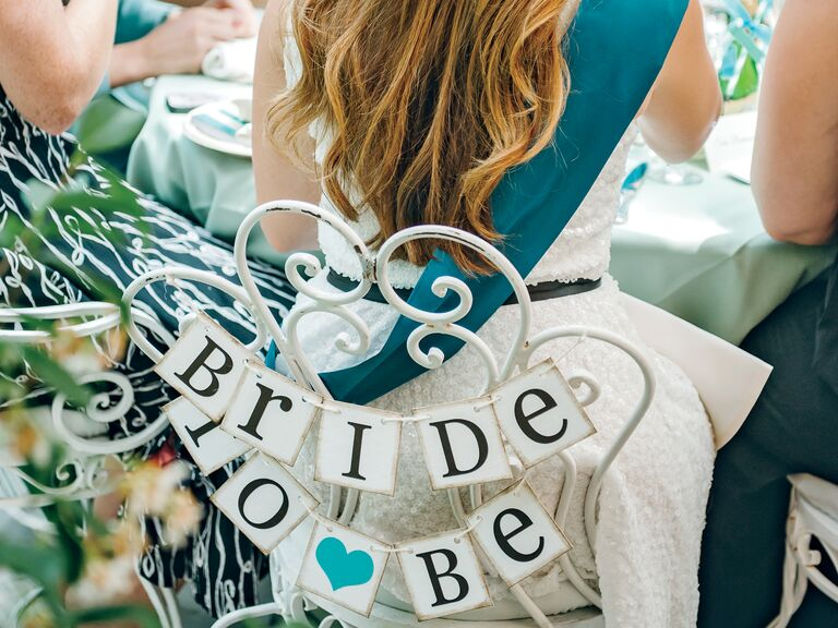 "Bridal shower chair sign: ""Bride To Be"""