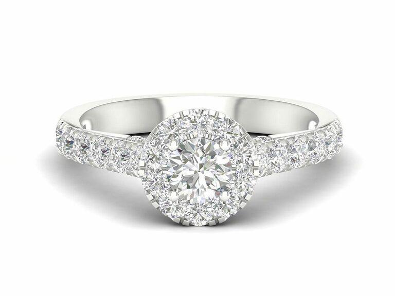 Jenny Packham round cut diamond engagement ring with halo and diamond pave band