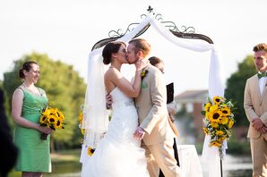 First Kiss at Founders Inn Outdoor Ceremony