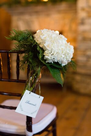 White Hydrangea and Pine Wedding Ceremony Aisle Decor