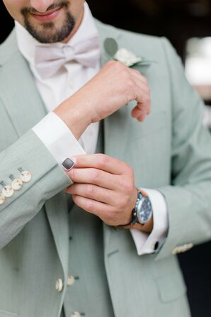 Groom with Mint Green Suit, Pink Bow Tie, Cufflinks and Watch
