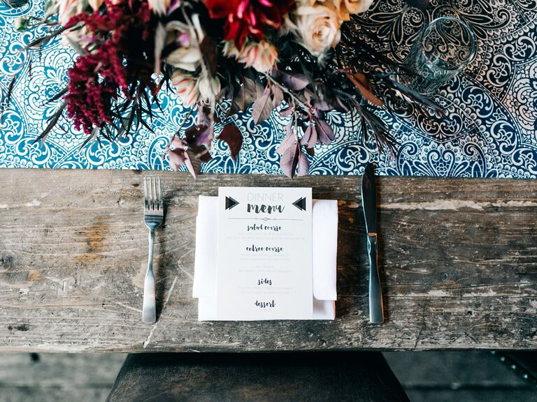 Rustic table setting with menu card