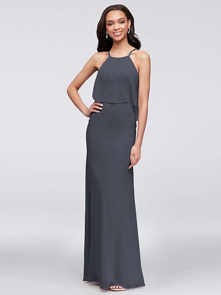 Halter dark gray bridesmaid dress