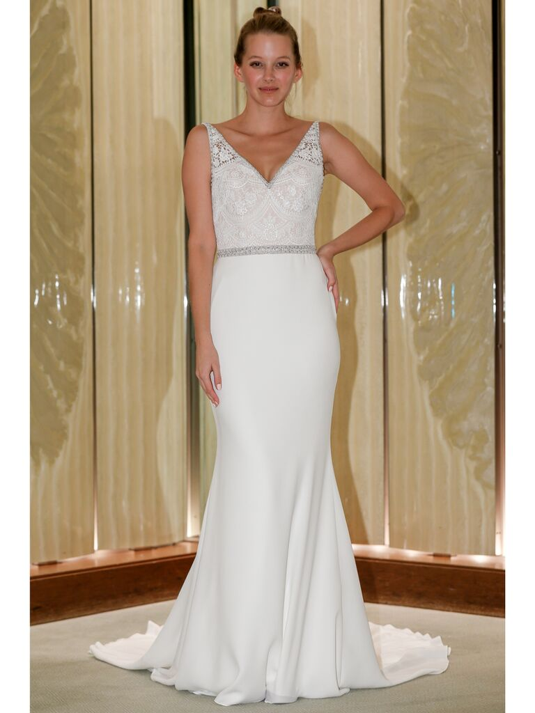 Randy Fenoli Fall 2019 Bridal Collection silk crepe trumpet wedding dress with natural waist belt and embellished sleeves