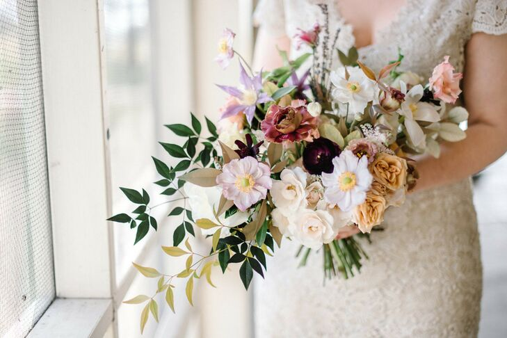 Modern Bouquet with Roses, Clematis, Cosmos and Eucalyptus