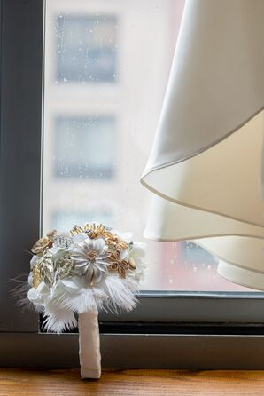 White and Gold Brooch Bouquet