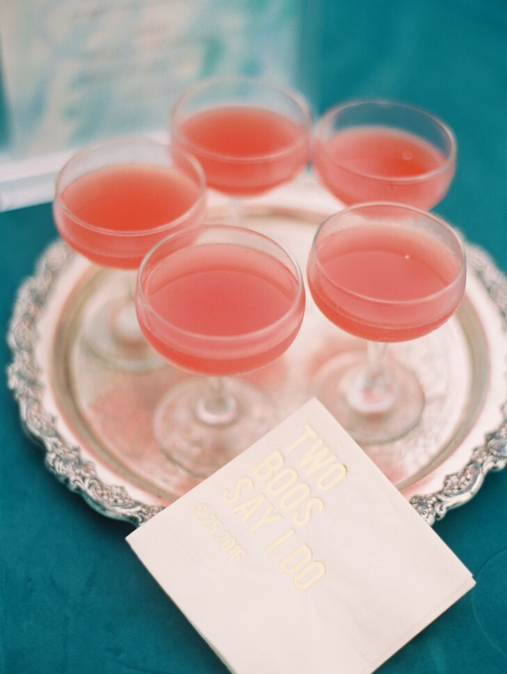 Pink Champagne Cocktails on Silver Tray
