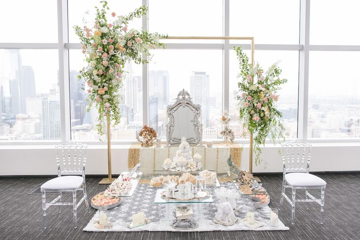 Sofreh Aghd Ceremony Supplies and Elegant Wedding Arch with Flowers