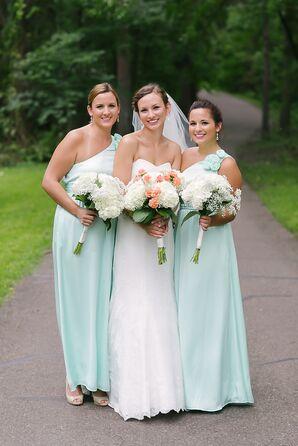 One Shoulder Mint Maxi Bridesmaid Dresses