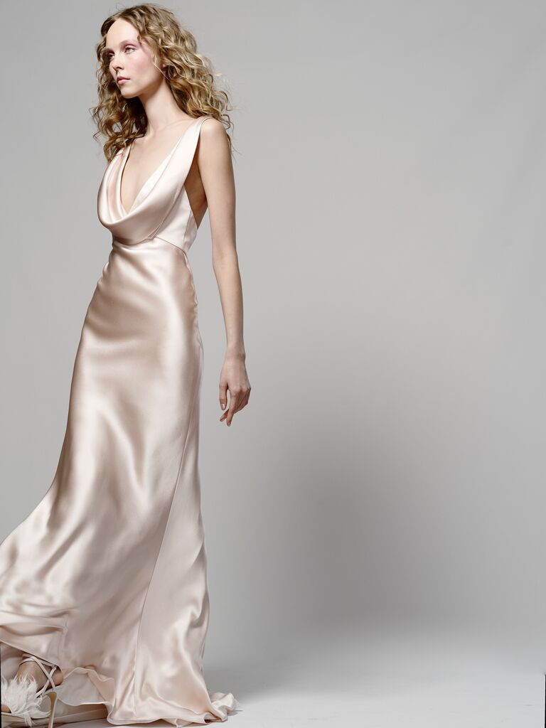 Elizabeth Fillmore Spring 2019 satin champagne-hued wedding dress with scoop-neckline