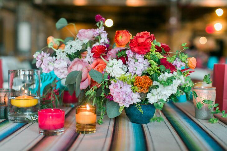 Low, Colorful Floral Centerpiece