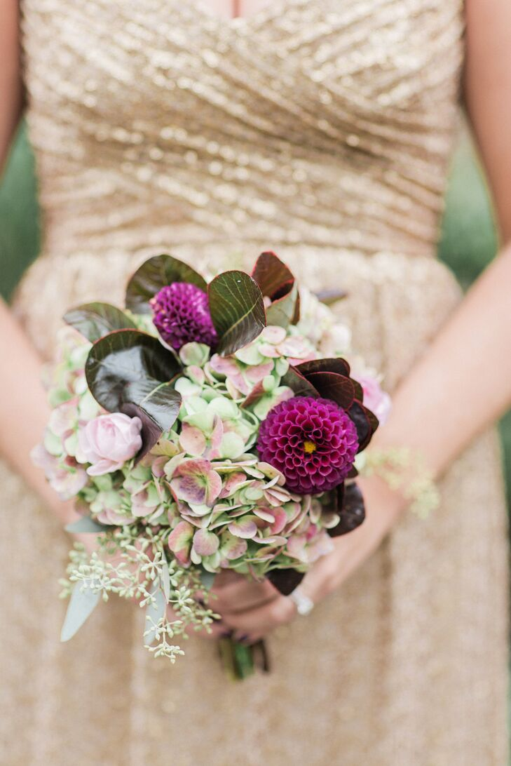 Purple Hydrangea and Dahlia Bouquet