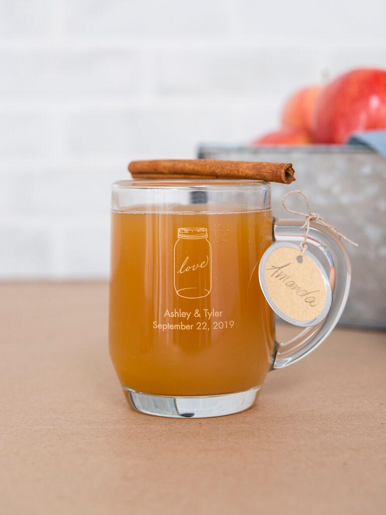 Hot apple cider mug fall wedding favor