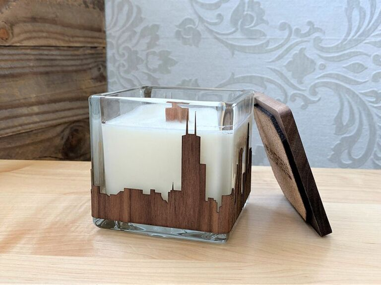 Cityscape candle with wooden wick