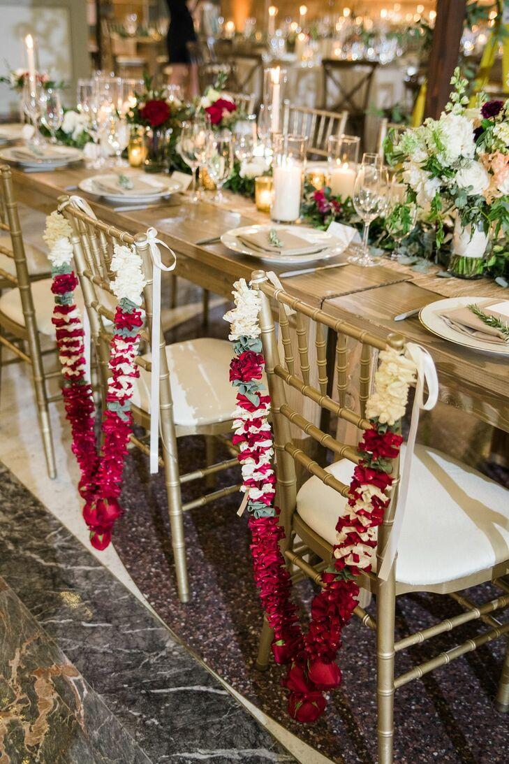 Gold Chiavari Sweetheart Chairs with Hindu Wedding Garland