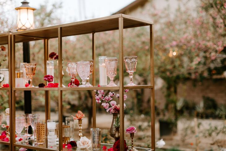 Vintage Glassware Displayed on Shelf