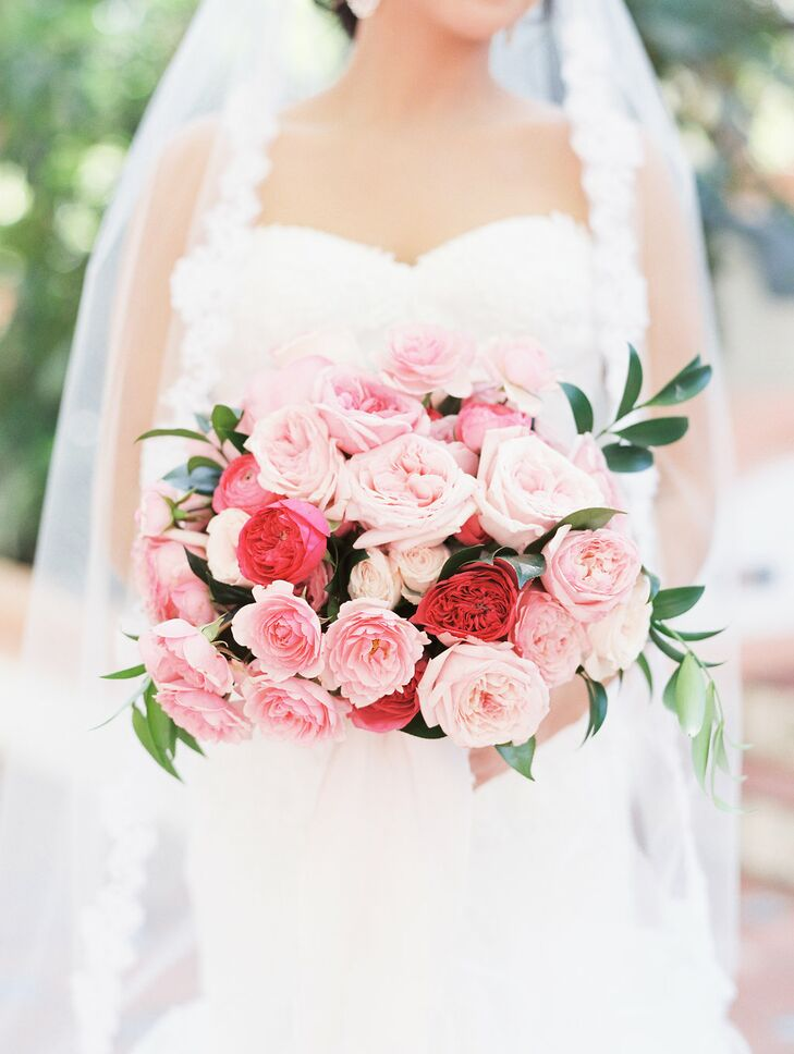 Romantic Bridal Bouquet of Pink and Red Roses