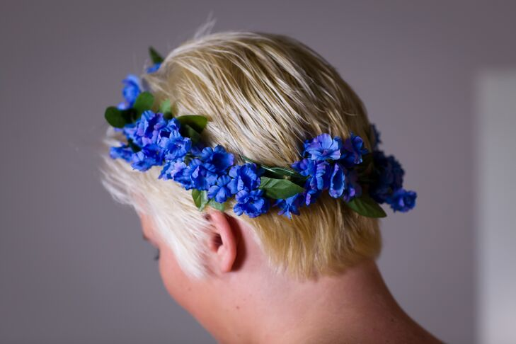 Blue Fabric Flower Crown