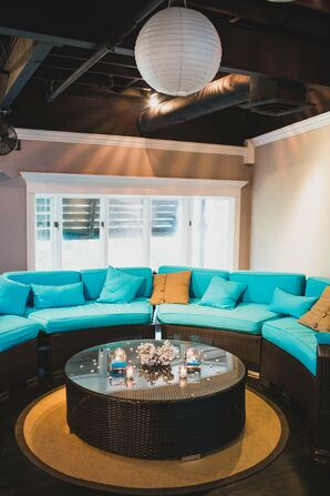 Blue Lounge Furniture With Sea Coral Accent