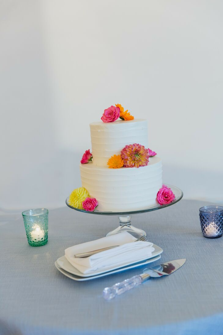 Simple Cake with Pink Flowers at Loring Social in Minneapolis, Minnesota