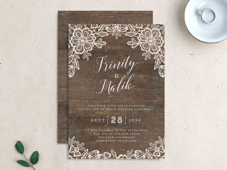 Rustic wedding invitation with lace
