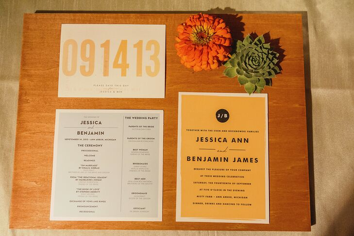 "The custom save the dates and invitations were proof that not all design elements have to be matchy-matchy. ""They didn't exactly match our color scheme, but we liked the rich yellow color for a fall wedding,"" Jessica explains."