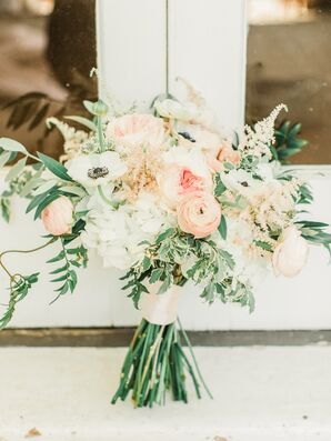 Romantic Bouquet with Pink Ranunculus, Peonies, Anemones and Greenery