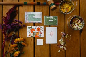 Bright Orange and Green Fall-Themed Invitations