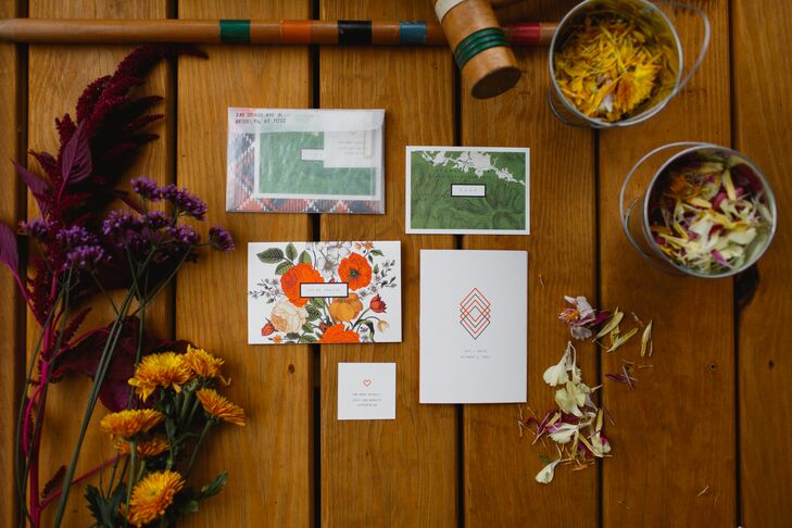 Katie and Jeff collaborated to design the invitations. Together, they created a series of bright cards, packaged in glassine envelopes. The cards were meant to evoke a collection of summer camp treasures.