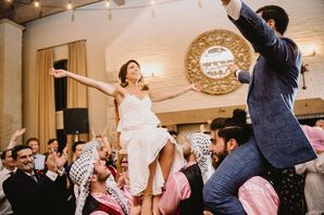 Couple Lifted on Chairs During Dancing at Early Mountain Vineyards in Madison, Virginia