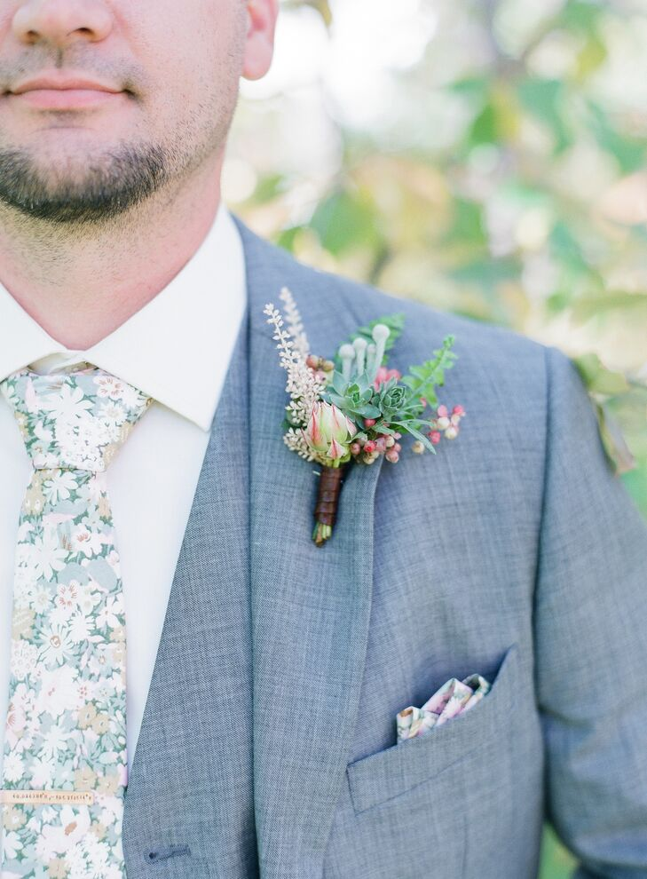 Succulent Boutonniere and Floral Tie