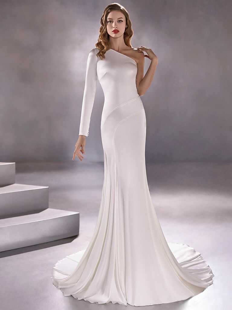 Atelier Provonias wedding dress one-shoulder long-sleeve trumpet gown