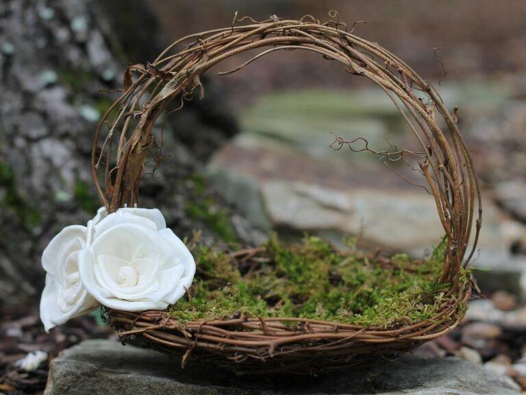 woven woodland flower girl basket