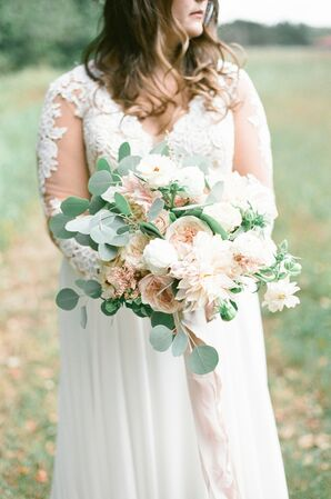 Romantic Bouquet with Peonies, Roses and Eucalyptus