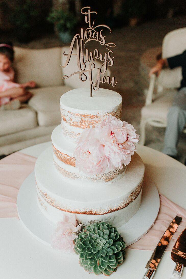 Tiered Cake With Peonies, Succulents and a Custom Cake Topper