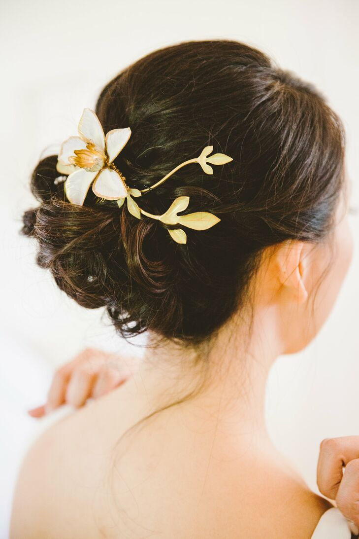 Classic Curled Updo with Floral Clip