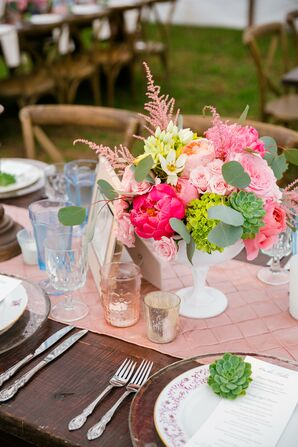 Pink Pintuck Table Runners and Peony Arrangements
