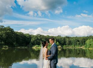 Amanda Allessio (29 and a medical outreach coordinator) and Michael McClelland (30 and a financial advisor) decorated their bohemian lakeside wedding