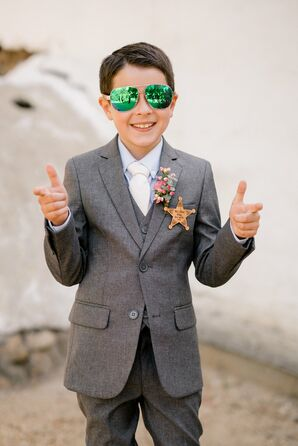 Hypericum and Sheriff's Badge Ring Bearer Boutonniere